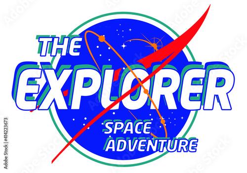 Fototapeta The Explorer slogan space print design for tee and poster