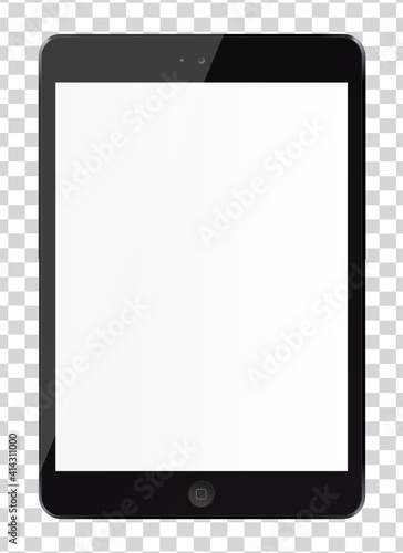 Tablet pc computer with blank screen isolated on transparent background. Vector illustration. EPS10. #414311000