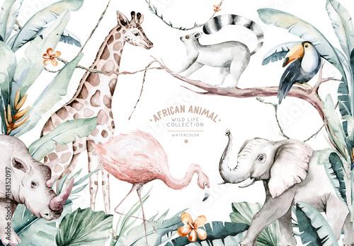Fototapeta premium Watercolor illustration of African Animals: lemur, flamingo and giraffe, toucan and rhipo, rhino and elephant isolated white background. Safari savannah animals