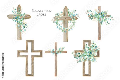 Watercolor Flower Cross, Wood Cross, Baptism, Floral Clipart, First Communion, H Fototapeta