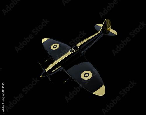 supermarine spitfire concept on black background. 3d rendering. Fototapeta