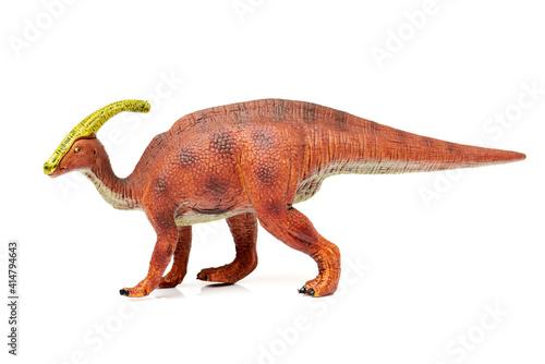 Parasaurolophus dinosaur on white background фототапет