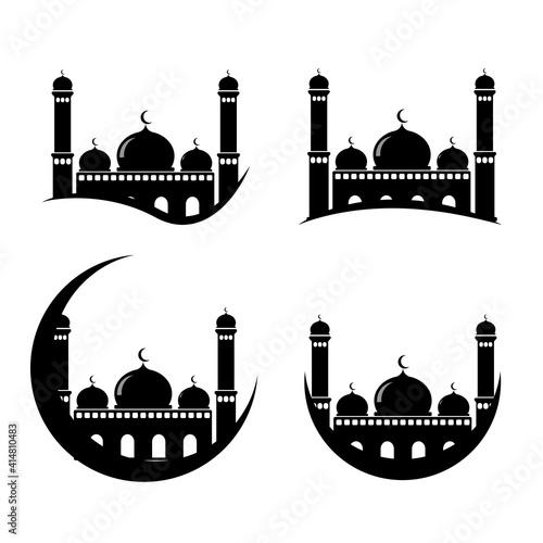 Canvas Print collection of mosque designs in flat style on isolated white background