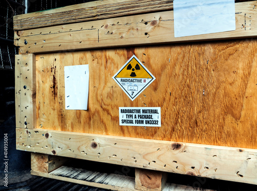 Canvas Print Radiation label beside the transport wooden box Type A package
