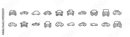 Canvas Print Simple line set of car icons.
