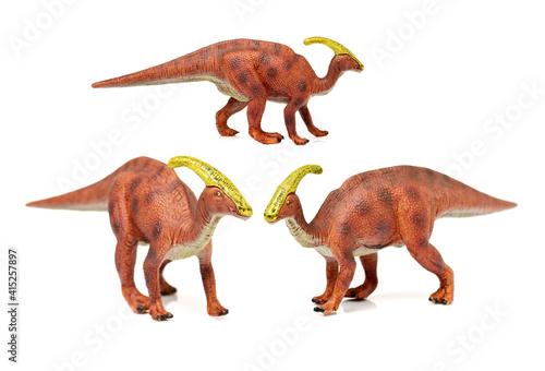 фотография Parasaurolophus dinosaur on white background