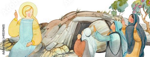 Fotografia Resurrection of Jesus Christ, Easter,Holy Sepulcher, the angel speaks with the myrrh-bearing women about the resurrection