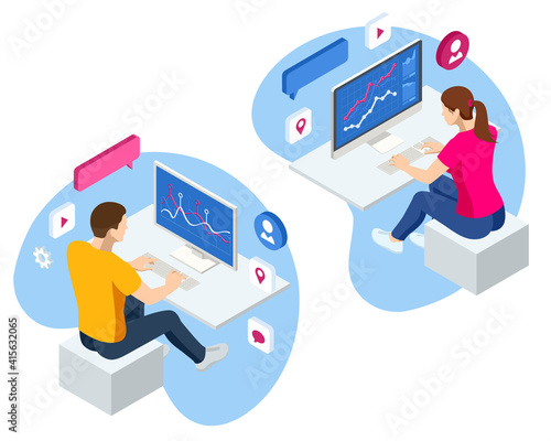 Obraz na płótnie Isometric Business data analytics process management on virtual screen showing sales and operations data statistics charts and key performance indicators concept