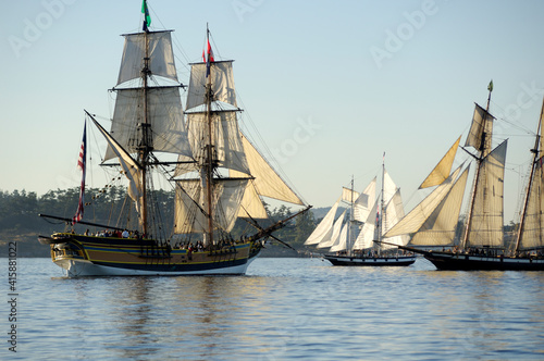 Fotografia The brig Lady Washington is a full-scale reproduction of the first U