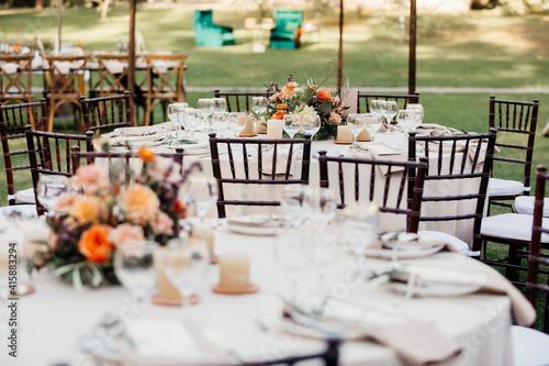 Fotografie, Tablou Table decoration, dinner, wedding design interior outdoor
