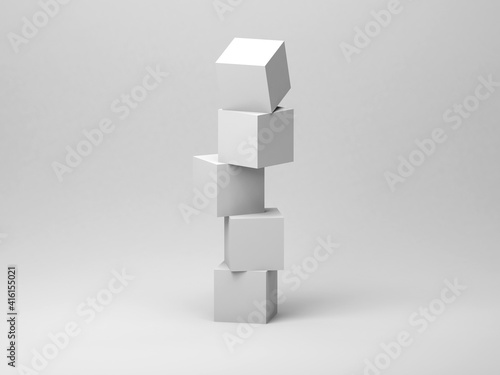 Wallpaper Mural Abstract tower installation of five white cubes in an empty studio