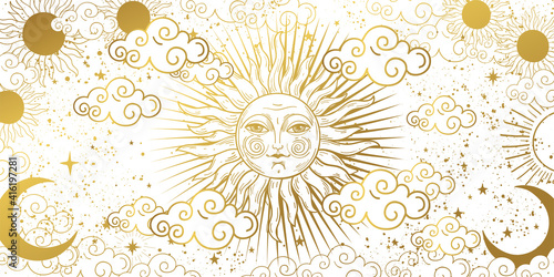 Canvas Print Aesthetic white background with golden sun with face, clouds and stars
