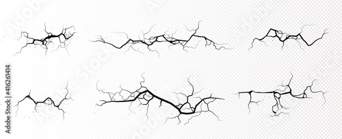 Obraz na plátně Ground cracks, horizontal breaks on land surface isolated on transparent background
