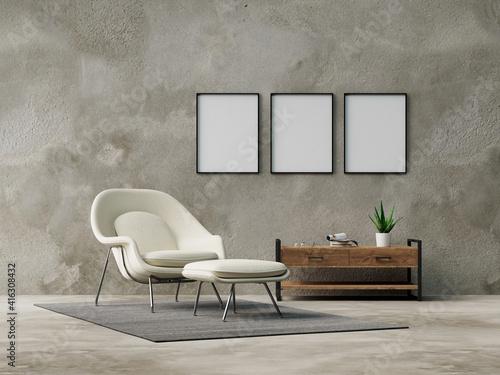 Obraz na płótnie Three empty frames on wall from living room with armchair