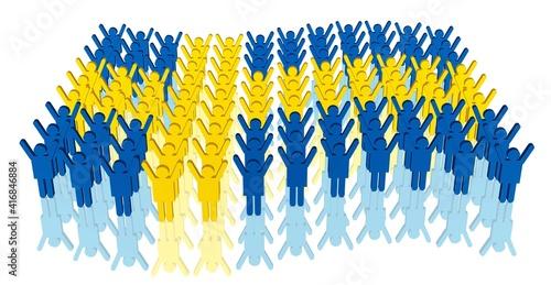 Wallpaper Mural viele Menschen in den Farben der schwedischen Flagge