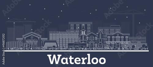 Photo Outline Waterloo Iowa USA City Skyline with White Buildings.