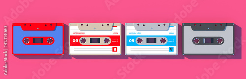 Fotografie, Obraz Vintage audio cassette tapes collection on pink background, Retro music