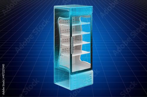 Carta da parati Visualization 3d cad model of refrigerated display case, showcase, blueprint