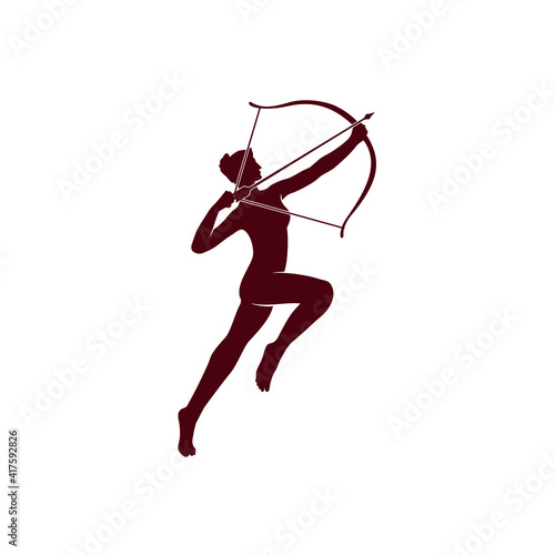 Canvas Print Illustration Artemis Greek ancient with bow archer silhouette in the burgundy co