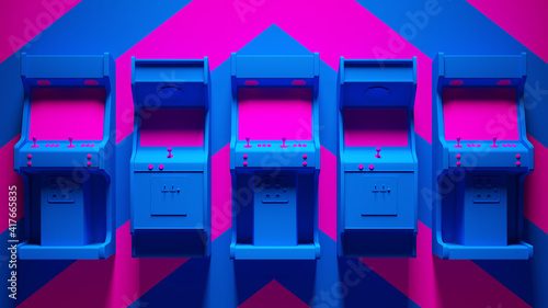 Tela Blue Pink Arcade Machines with Pink an Blue Chevron Background 3d illustration r