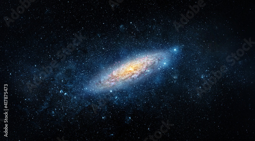 Fotografia A view from space to a spiral galaxy and stars