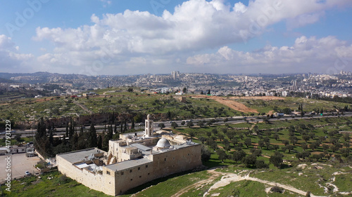 Fotografia Mar elias monastery and Jerusalem in background, Aerial view drone view over Gre