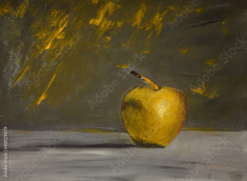 Yellow apple on a gray-yellow background.painting still life acrylic painting, art on canvas,art artwork,backgrounds.