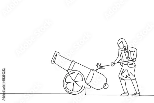 Leinwand Poster Single one line drawing of young smart business woman fire on cannon ball weapon