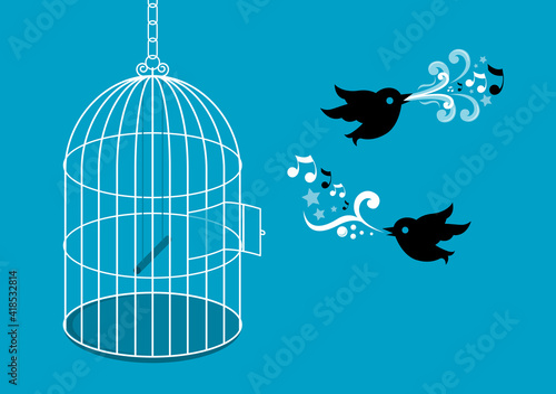Fotografie, Tablou Birds with birdcage vector illustration