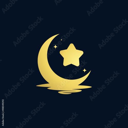 Canvas-taulu elegant crescent moon and star logo design