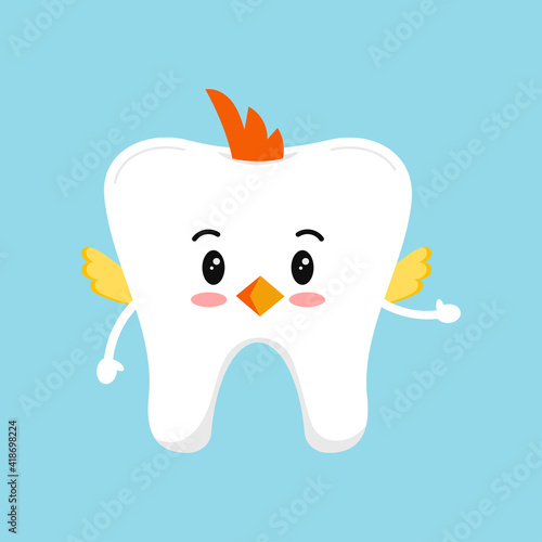 Canvas Print Easter cute tooth in chicken costume dental icon isolated on background