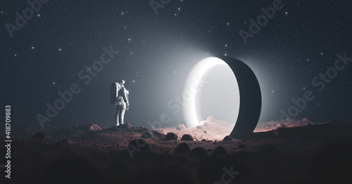 Astronaut on foreign planet in front of spacetime portal light Fototapete