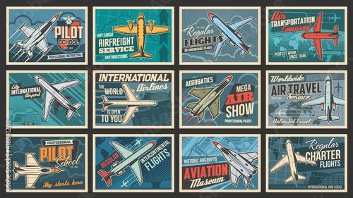 Fotografiet Plane and aviation retro posters, pilot school and aircraft flights, vector