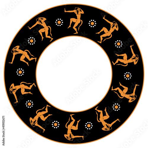Obraz na plátně Round ethnic frame or mandala with dancing Satyrs
