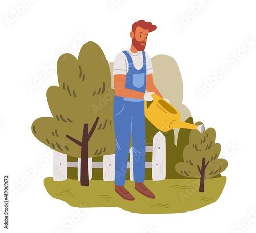 Valokuva Young gardener working in garden in summer