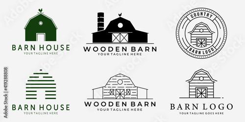 Carta da parati Set Bundle of Barn Vintage Line Art Vector Logo, Illustration Design of Barn Cab