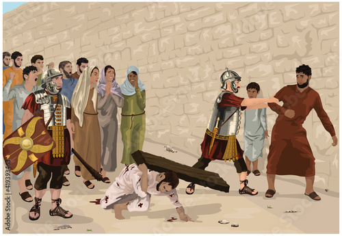 Obraz na płótnie Jesus struggles to carry cross beam to Golgotha so Roman soldier compels Simon,