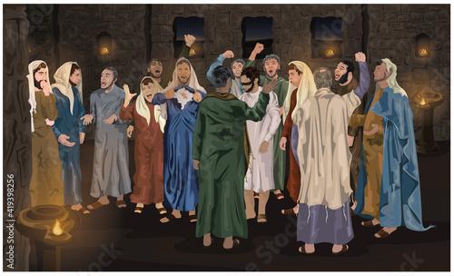 Fotografie, Tablou Jesus Trial Before The Sanhedrin
