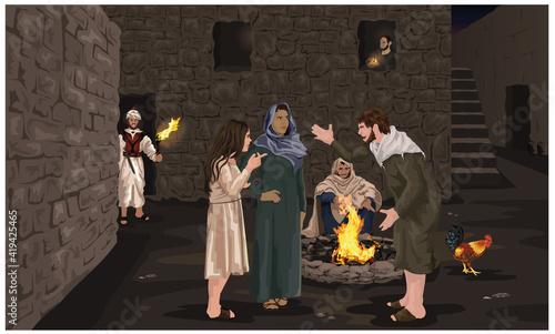 Obraz na plátne Peter Denies Jesus - Easter Story