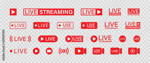 Fotografia, Obraz Live streaming set red icons. Play button icon vector