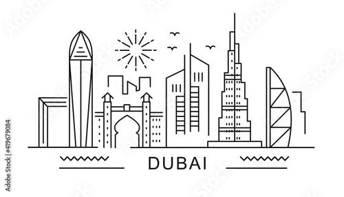 Foto Dubai minimal style City Outline Skyline with Typographic