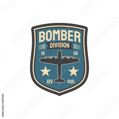 Fotografia Bomber division army chevron insignia of interceptor plane squad isolated military patch with aviation plane