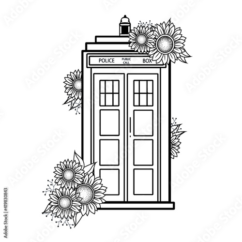 Photo Doctor Who vector illustration blue police call box