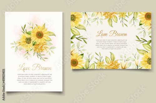 beautiful sunflower invitation card set Fototapeta