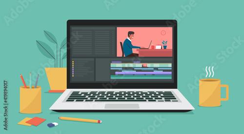 Fotografie, Obraz Video editing software on laptop computer