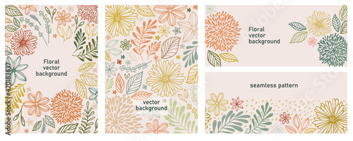 Tablou Canvas Set of universal hand drawn floral template for cover