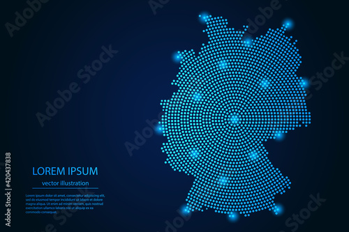 Obraz na plátne Abstract image Germany map from point blue and glowing stars on a dark background