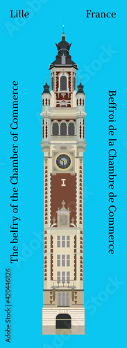 Fotografija The belfry of the Chamber of Commerce in Lille, France Beffroi de la chambre de