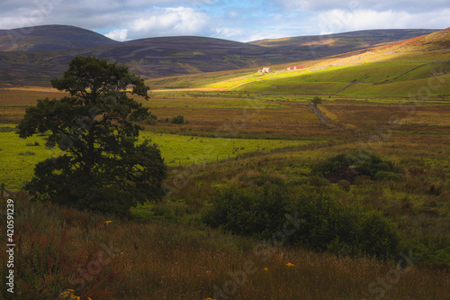 Fotografija Dramatic dappled light over rural countryside landscape and old farmhouse in the Cairngorms National Park, Scottish Highlands, Scotland