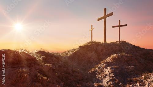 Leinwand Poster Crucifixion and Resurrection